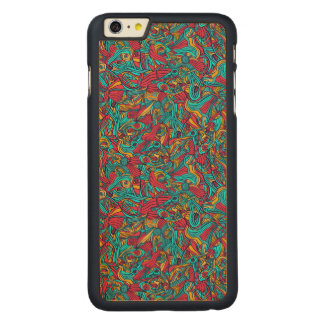 Diseño abstracto dibujado mano colorida del modelo funda fina de arce para iPhone 6 plus de carved