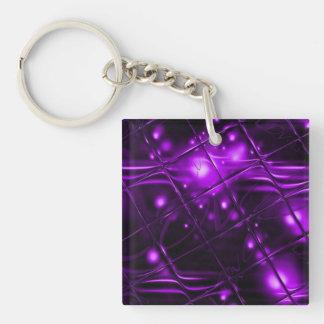 Diseño abstracto púrpura llavero cuadrado acrílico a doble cara