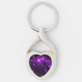 Diseño abstracto púrpura llavero plateado en forma de corazón