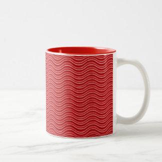 Diseño abstracto rojo taza dos tonos