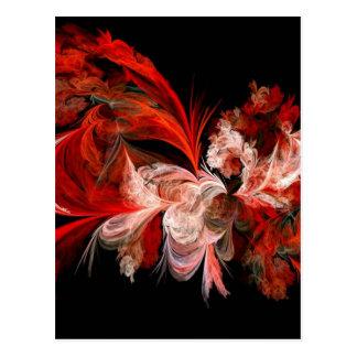 Diseño abstracto rojo y blanco en negro postal