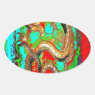 Diseño afortunado de la buena suerte del dragón calcomania de ovaladas