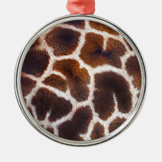 Diseño africano de la foto de la piel de la jirafa adorno navideño redondo de metal