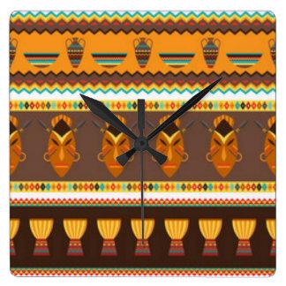 Diseño africano de la impresión del modelo del reloj cuadrado