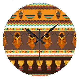 Diseño africano de la impresión del modelo del reloj redondo grande