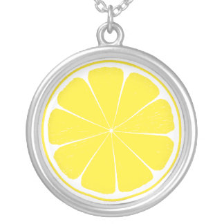Diseño amarillo brillante de la rebanada de los collar plateado