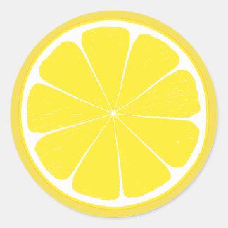 Diseño amarillo brillante de la rebanada de los pegatina redonda
