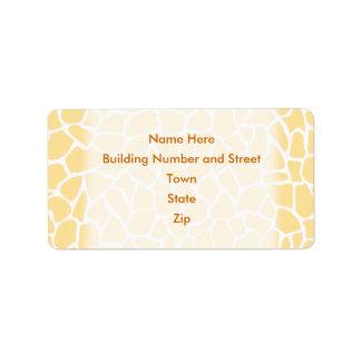 Diseño amarillo del estampado de animales del mode etiquetas de dirección