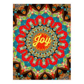 """Diseño amarillo rojo vibrante de la """"alegría"""" del postal"""