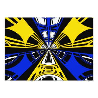 Diseño amarillo y azul moderno del círculo invitación 12,7 x 17,8 cm