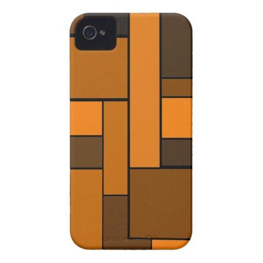 Diseño anaranjado oscuro del entarimado iPhone 4 carcasas