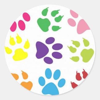 diseño animal de la pata pegatina redonda
