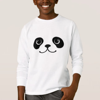 Diseño animal lindo de la cara de la panda blanco camiseta