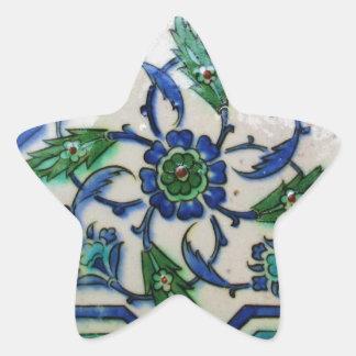 Diseño antiguo de la teja del otomano del vintage pegatina en forma de estrella