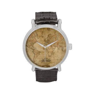 Diseño antiguo del Historia-amante del mapa de Vie Reloj De Mano