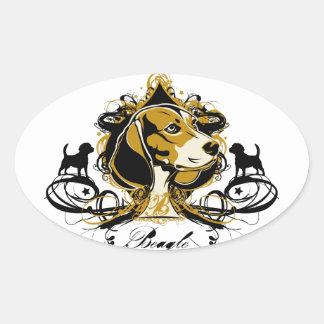 Diseño artístico de la raza del perro de caza del pegatina ovalada
