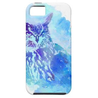 Diseño artsy lindo y bonito del búho en azul iPhone 5 Case-Mate coberturas