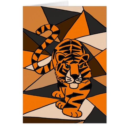 Diseño asombroso del arte abstracto del tigre tarjeta de felicitación