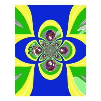 Diseño azul amarillo retro de la placa giratoria folleto 21,6 x 28 cm