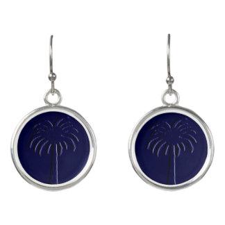 Diseño azul del árbol del Palmetto Pendientes