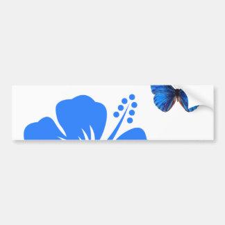 Diseño azul del hibisco de la mariposa pegatina para coche