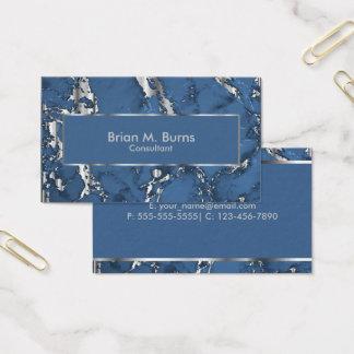 Diseño azul del mármol y de la plata metalizada tarjeta de negocios