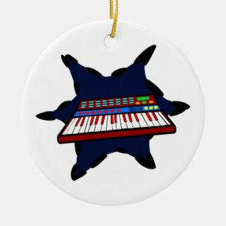 Diseño azul del músico del chapoteo del teclado adorno redondo de cerámica