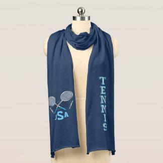 Diseño azul del tenis del monograma bufanda