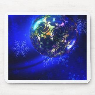 Diseño azul eléctrico de la chuchería del navidad, alfombrilla de ratón