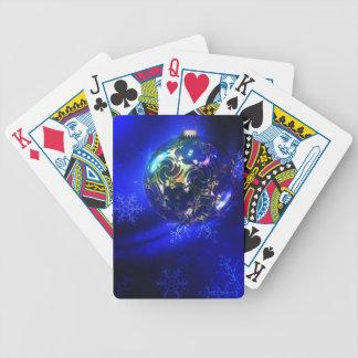 Diseño azul eléctrico de la chuchería del navidad, barajas de cartas