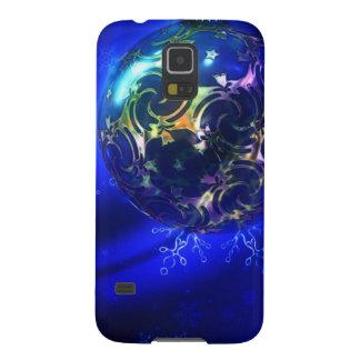 Diseño azul eléctrico de la chuchería del navidad, fundas para galaxy s5