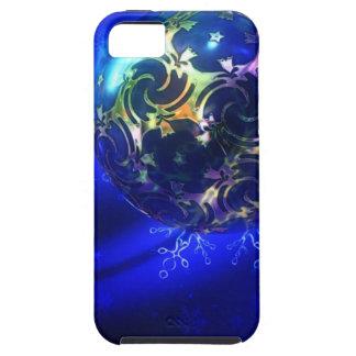 Diseño azul eléctrico de la chuchería del navidad, iPhone 5 Case-Mate cárcasa