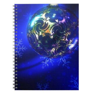 Diseño azul eléctrico de la chuchería del navidad, libros de apuntes