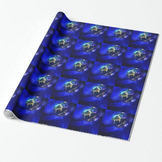 Diseño azul eléctrico de la chuchería del navidad, papel de regalo