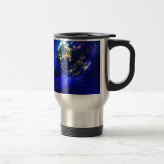 Diseño azul eléctrico de la chuchería del navidad, taza térmica