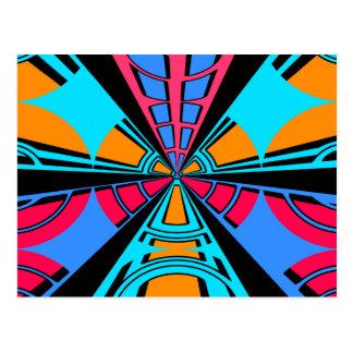 Diseño azul rosado moderno del semicírculo postal