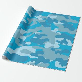 Diseño azul y gris de Camo Papel De Regalo