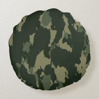 Diseño beige gris verde oscuro de Camo del Cojín Redondo