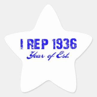 diseño bithday 70 pegatina en forma de estrella