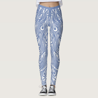 Diseño blanco del pavo real leggings