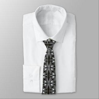 Diseño blanco negro de la geometría de la fuerza corbata fina