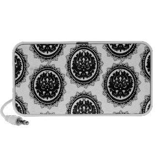 diseño blanco negro del damasco del escudo del cír iPod altavoz