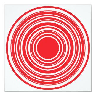 Diseño blanco rojo del ojo de toros de los invitación 13,3 cm x 13,3cm