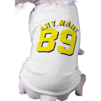 Diseño blanco y amarillo del jersey de los camiseta sin mangas para perro