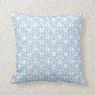 Diseño blanco y azul claro del damasco cojín decorativo