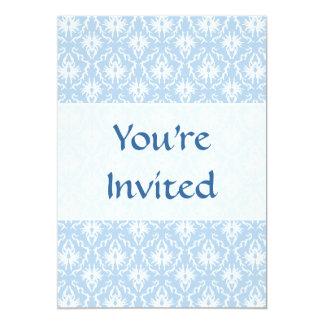 Diseño blanco y azul claro del damasco invitación 12,7 x 17,8 cm