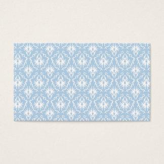 Diseño blanco y azul claro del damasco tarjeta de negocios