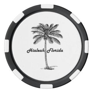 Diseño blanco y negro de Hialeah y de la palma Juego De Fichas De Póquer