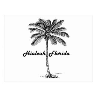 Diseño blanco y negro de Hialeah y de la palma Postal