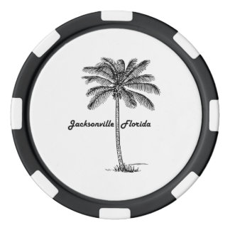 Diseño blanco y negro de Jacksonville y de la Fichas De Póquer